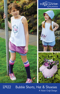 Indygo Junction Bubble Shorts, Cloche Hat & Shoesies Sewing Pattern