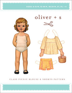 Oliver + S Class Picnic Blouse and Shorts Sewing Pattern Sizes 6Mo to 4 Years