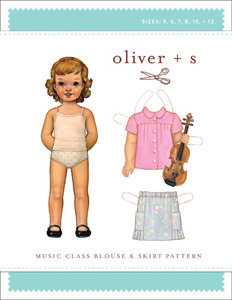 Oliver + S Oliver + S: Music Class Blouse + Skirt Ptn (5-12) Sewing Pattern