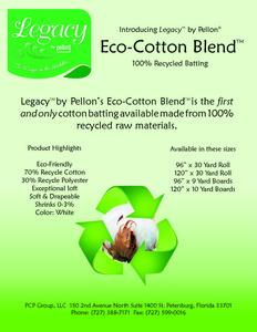 """Legacy by Pellon Legacy Eco Cotton Blend 120"""" wide x 10 yds Needle Punched Batting with Scrim"""