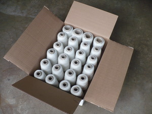Gemsy 24 Spools Cotton Thread White, Choose 6, 7, or 8oz Cone Spools, for Bag Closer Closing Machines