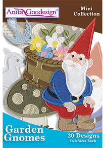 Anita Goodesign 156MAGHD 40 Garden Gnomes Mini Collection Embroidery CD