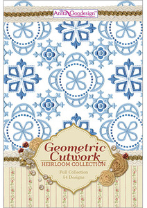 Anita Goodesign 235AGHD Geometric Cutwork Full Heirloom Collection Multi-format Embroidery Design Pack on CD