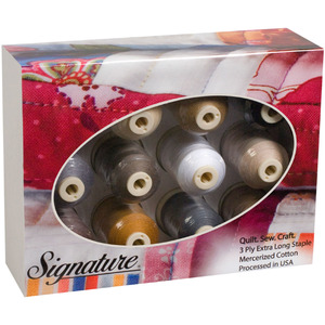 12/PKG    -SIGNATURE GIFT PACK, A&E Signature Cotton Quilting Sewing Thread 40wt, 12 Cones x 700Yards Gift Pack