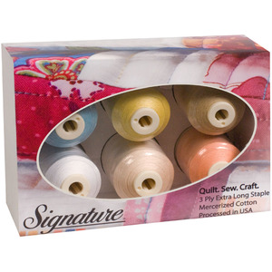 A&E Signature 60wt Cotton Quilting Thread 6 Cones x 1100 Yards, 3 Ply Long Staple Mercerized, Gift Pack