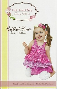 Little Lizard King Ruffle Tunic LLK310 Pattern 6m-8yrs + Dolly Pattern