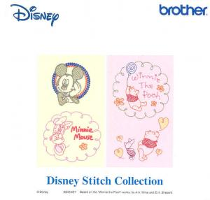"Brother, SA316D, Disney, ""Stitch"", Collection, Embroidery Card, 37 Designs, 4x4"" .pes Format, Mickey, Minnie, Donald, Goofy, Pooh, Tigger, Eeyore, Piglet for Brother machines whose model number ends in D,"