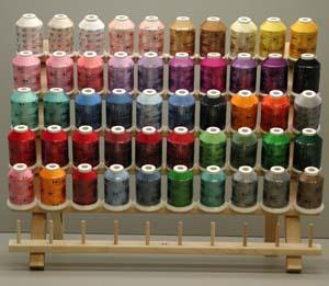Robison Anton Best 50x1100Yd Embroidery Thread 40wt Poly or Rayon with Wood Rack Stand