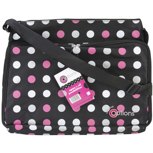 "Creative Options Project Tote 18.375""X14.25""X1.5"" Black/Magenta/White Polka Dot"