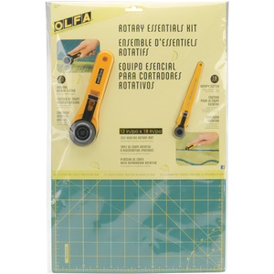 "Olfa RTY-2/RE Essentials Kit: 12x18"" Mat, 18mm Plus 45mm Roatry Cutters"