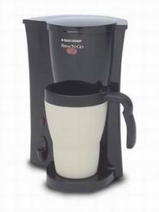 Black & Decker DCM18 Brew 'N Go Single Serve Coffee Brew Maker, Permanent Filter, 15oz Heat Holding Easy Grip Travel Mug & Lid, Heat Water for Tea Etc