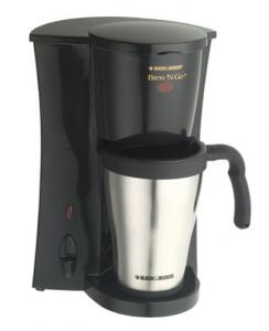 Black & Decker ® DCM18S Brew 'N Go™ Deluxe Single Serve Coffeemaker, Permanent Filter, 15 Ounce Stainless Steel Insulated Mug & Lid