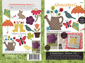 "KimberBell 12 Designs Spring Vol1 Applique Embroidery CD 4x4 5x7 6x10"" Hoops"