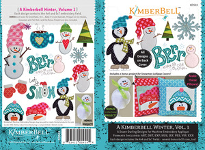 """KimberBell 12 Designs Winter Vol1 Applique Embroidery CD for 4x4 5x7 6x10"""" Hoop Machines"""