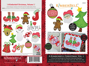 KimberBell 12 Designs Christmas Vol1 Applique Embroidery CD 4x4 5x7 6x10""