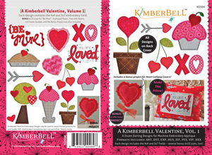 KimberBell 12 Designs Valentine Vol1 Applique Embroidery CD 4x4 5x7 6x10""