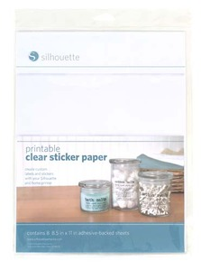 "Silhouette Cameo MEDCLRADH  Printable Clear Stickers Labels Paper 8x8.5x11"" Sheets"