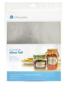 "Silhouette Cameo Printable Silver Foil Adhesive Back 8-8.5x11"" Sheets"