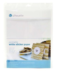 "Silhouette Cameo Printable White Sticker Paper Eight of 8.5x11"" Sheets"