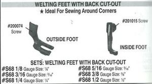 S68 Welt Foot Set Singer 111W 211W & Industrial Walking Foot Machines*