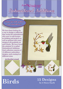 Anita Goodesign 172MAGHD Birds Embroidered Additions Multi-format Embroidery Design CD