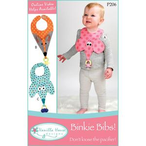 Vanilla House P206 Binkie Bibs with Pacifier Holder Sewing Pattern