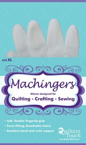 Quilters Touch 7243XL Extra Large Machingers Seamless Nylon Knit Gloves to Hold Fabric, Hoops or Rulers in Free Motion Quilting