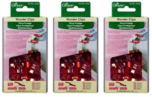 Clover CL3156 Jumbo Wonder Clips Box of 3x50, 150 Clips, for Seams, Quilt Bindings-WONDER CLIPS 50/PKG