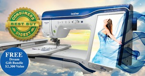 "Brother, XD8500, baby lock destiny, bldy, Demo, Sewing, Quilting, 9.5x14, Embroidery, Machine, 10""LCD 2xFaster, DropLight +Roller Bag, PED Next, 8x8""Hoop , Brother XV8500D Demo InnovEye Chrome Dream Embroidery Quilting Sewing Machine, 14 Extras $1120 Values * $500 Deposit by Aug 31"