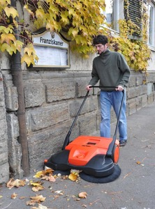 "HAAGA 497 38"" Deluxe Triple Brush Push Power Outdoor Indoor Sweeper, Made in Germany"