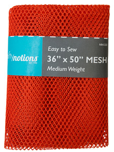 "Nifty Notions Mesh Fabric Medium Weight, Orange 36"" x 50"""