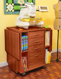 Kangaroo K9205 Wombat Cabinet Stand Teak for Brother PRS100, PR600, PR620, PR650, PR655, PR1000, PR1050x, and Babylock Models