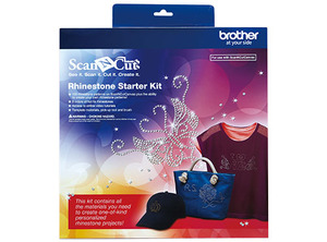Brother CARSKIT1 Hot Fix Rhinestone Starter Kit for Scan N Cut, 100 Designs, Canvas Code to Create Patterns, 4 Colors Stones, Templates, Brush, Tools