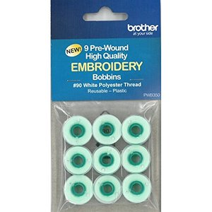Brother PWB350 9x85Yd Prewound Classs 15/A Plastic Bobbins, 90wt Clear Spun Poly Thread for Embroidery Only PE540,PE770,PE780D,NS1150,NQ1400,SB7050,SB
