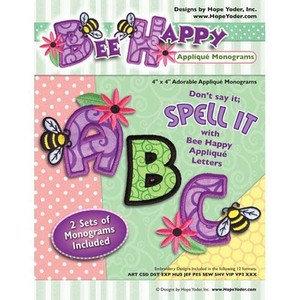 Hope Yoder HYCD2 Bee Happy Applique Monograms Embroidery Designs CDnohtin