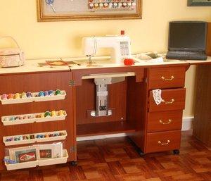 Arrow 98300DL, Oak, 98301DL, White, or 98302DL, Cherry, 4 Drawer, Air Lift, Sewing Machine Cabinet