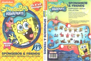 Brother SANICKSB Nickelodeon Spongebob Squarepants PES Machine Embroidery Designs CD