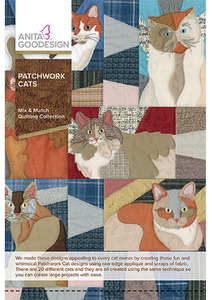 Anita Goodesign 264AGHD Patchwork Cats Mix Match Quilt Collection CD
