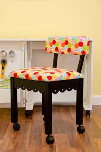 Arrow 6013 Gingerbread Trim Black Chair, Riley Blake Fabric Hexi Motif