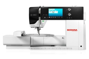 Bernina 580E Demo 838-Stitch Sewing Machine, 100 Stitch Embroidery Module, BSR Stitch Length Regulator, 7 Feet, Now Available for Online Ordering