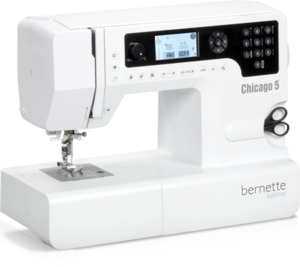 Bernina Bernette Chicago 5 200-Stitch Computer Sewing Machine USB, 7mmZZ, 1Step BH, Font, Start Stop, Needle Up Down, Speed Control, at Sew Comtempo*