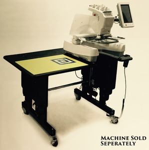 """Martelli Custom Embroidery Work Station Cutting Table, 30-46"""" Electric Lift Legs Adjustable Height, Tiltable Top 29x47"""" 45mm Rotary Cutter, 18x24 Mat"""