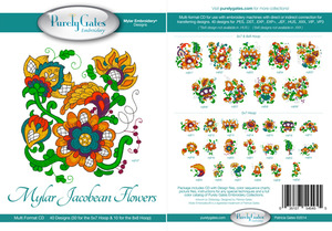 Purely Gates PG5486 Mylar Jacobean Flowers Embroidery Designs CD