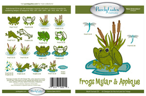 Purely Gates PG5455 Frogs Mylar & Applique Embroidery Designs CD