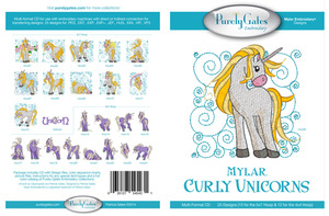 Purely Gates PG5431 Curly Unicorns Mylar Embroidery Designs CD