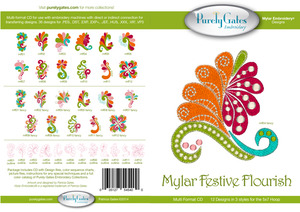 Purely Gates PG5400 Mylar Festive Flourish Embroidery Designs CD