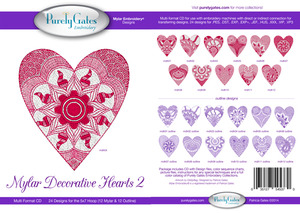 Purely Gates PG5370 Mylar Decorative Hearts 2 Embroidery Designs CD