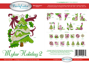 Purely Gates PG5271 Mylar Holiday 2 Embroidery Designs CD