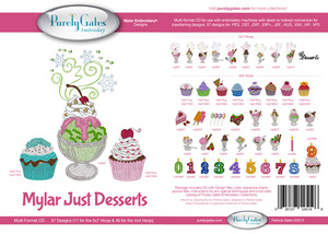 Purely Gates PG5196 Mylar Just Desserts Embroidery 57 + 46 Designs CD*