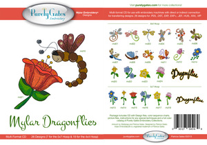 Purely Gates PG5189 Mylar Dragonflies Embroidery Designs CD